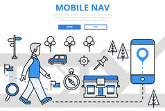 Mobile navigation GPS concept flat line art vector icons royalty free illustration