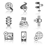 Mobile navigation icons black and white Stock Photos