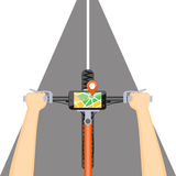 Mobile navigation in the mobile phone on the handlebar. Flat modern vector illustration concept of mobile navigation. Mobile gps app  in the mobile phone with Stock Images
