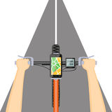 Mobile navigation in the mobile phone on the handlebar. Flat modern vector illustration concept of mobile navigation. Mobile gps app  in the mobile phone  with Royalty Free Stock Image