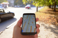 Mobile navigation on street Royalty Free Stock Photo