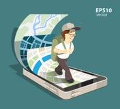 Mobile navigation system. Young man tourist using mobile navigation system on his smartphone.  color creative concept illustration Stock Photos