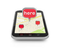 Mobile navigation or travel planning. Stock Photos