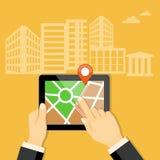 Mobile navigator on the tablet Stock Photography