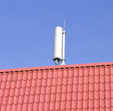 Mobile network antenna on the roof Royalty Free Stock Images