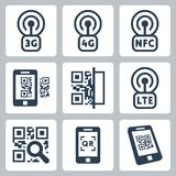 Mobile network and QR-code icons Royalty Free Stock Image
