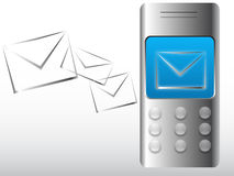 Mobile with new email message Royalty Free Stock Photos