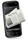 Mobile News Concept. Smartphone with Newspaper