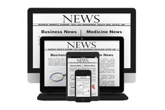 Mobile News Concept. Desktop computer, notebook, tablet pc and m. Obile phone with news on a white background Royalty Free Stock Photography