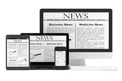 Mobile News Concept. Desktop computer, notebook, tablet pc and m. Obile phone with news on a white background Royalty Free Stock Image