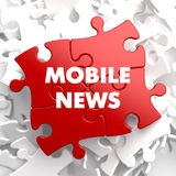Mobile News on Red Puzzle. Royalty Free Stock Images