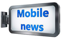Mobile news on billboard background. Mobile news wall light box billboard background , isolated on white Stock Image