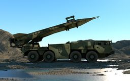 Mobile nuclear ballistic missile. Russian ballistic. 3d rendering. Stock Photo
