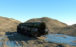 Mobile nuclear ballistic missile. Russian ballistic. 3d rendering. Stock Image