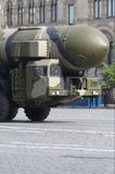 Mobile nuclear intercontinental ballistic missile. RT-2PM Topol. Moscow Victory Parade of 2008 Royalty Free Stock Images