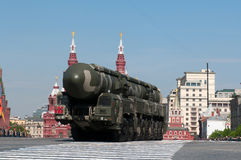 Mobile nuclear intercontinental ballistic missile RT-2UTTKh Topol-M Stock Image