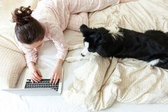 Free Mobile Office At Home. Young Woman In Pajamas Sitting On Bed With Pet Dog Working Using On Laptop Pc Computer At Home. Lifestyle Stock Photography - 182067202