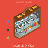 Mobile office in big briefcase flat 3d isometric vector Royalty Free Stock Photography
