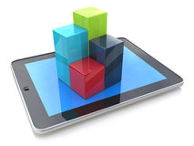 Mobile office: computer tablet showing 3d charts Royalty Free Stock Images