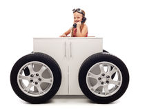 Mobile office concept with little girl on the phone Royalty Free Stock Images