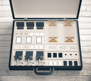 Mobile office tool case with office furniture Royalty Free Stock Image
