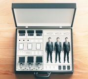 Mobile office tool case on wooden table Royalty Free Stock Photos