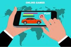 Mobile online games concept, flat design, vector illustration Stock Photos