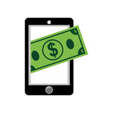 Mobile online payment. Icon  illustration graphic design Royalty Free Stock Photography