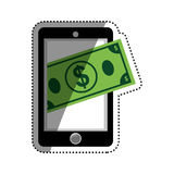 Mobile online payment. Icon  illustration graphic design Stock Photos
