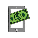 Mobile online payment. Icon  illustration graphic design Royalty Free Stock Photo