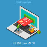 Mobile online payment shopping flat 3d vector isometric Stock Photo