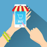 Mobile online shopping vector illustration concept Stock Photography