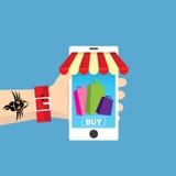 Mobile online shopping vector illustration concept Stock Image