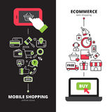 Mobile online shopping 2 vertical banners set Stock Photos