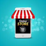 Mobile Online Store concept. Vector illustration business design. Electronic online shop market. Digital marketing Royalty Free Stock Photography