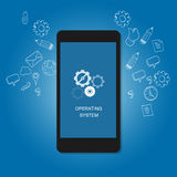 Mobile operating system OS cell phone flat illustration Stock Photos