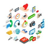 Mobile operator icons set, isometric style. Mobile operator icons set. Isometric set of 25 mobile operator vector icons for web isolated on white background Royalty Free Stock Photography