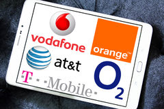 Mobile operator logos and brands Stock Images