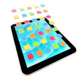 Mobile pad computer with applications Royalty Free Stock Images