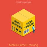 Mobile parcel tracking order shipping flat 3d isometric vector. Mobile parcel tracking flat 3d isometry isometric online order shipping business concept web Stock Images