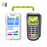 Mobile payment app with terminal. Icon of mobile payments with terminal Stock Photo