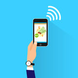 Mobile payment with cell smart phone nfc Royalty Free Stock Photo
