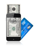 Mobile payment concept. Modern mobile phone with hundred dollar bills on a screen and with credit card. Mobile payment concept. Isolated on white