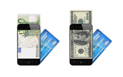 Mobile payment concept. Modern mobile phone with hundred dollar and euro bills on a screen and with credit card. Mobile payment concept. Isolated on white Royalty Free Stock Photography