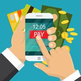 Mobile payment concept. Hand holding a phone. Smartphone wireless money transfer. Flat design. Vector illustration. Vector illustration. Mobile payment concept Royalty Free Stock Photos