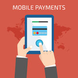 Mobile payment concept. Man holding tablet. Flat style Royalty Free Stock Photos