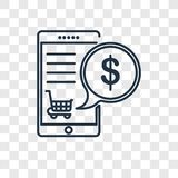 Mobile payment concept vector linear icon isolated on transparen stock illustration