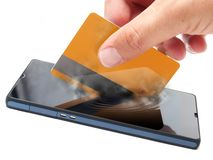 Mobile payment. Conceptual view about checkouts or payments over Internet and mobile devices