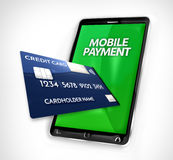Mobile payment credit card 3d render Royalty Free Stock Photography