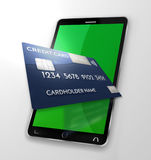 Mobile payment credit card 3d render Royalty Free Stock Photos